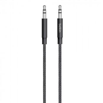 Belkin Mixit Premium Μαύρο Καλώδιο  Ακουστικών Ήχου Jack AUX Metallic