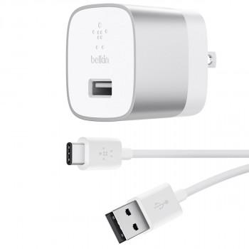 Belkin Boost Φορτιστής Πρίζας Ασημί μαζί με καλώδιο ταχείας φόρτισης USB-A σε USB-C