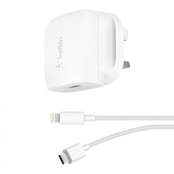 Belkin Φορτιστής Τοίχου USB-C Άσπρος 18W μαζί με καλώδιο Lightning