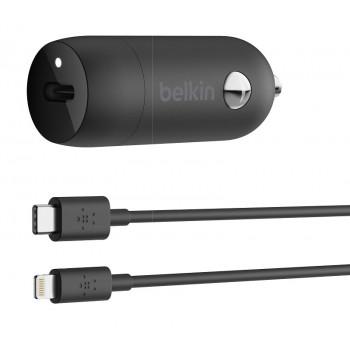 Belkin Boost Φορτιστής Aυτοκινήτου Με Θύρα USB-C Μαύρο 18W και Καλώδιο USB-C σε Lightning 1,2 μέτρα