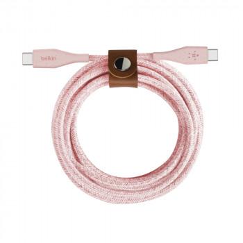 Belkin Πανίσχυρο Ροζ Καλώδιο USB-C σε USB-C DuraTek με λουράκι