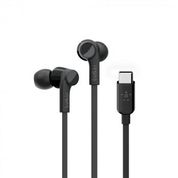 Belkin Ενσύρματα Rock Star Aκουστικά με noise isolation USB-C σύνδεση Μαύρο