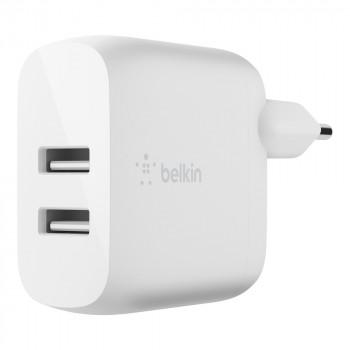 Belkin Boost Charge Φορτιστής Πρίζας με διπλή υποδοχή USB-A 24W και καλώδιο USB-C Άσπρο