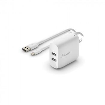 Belkin Boost Charge Φορτιστής Πρίζας με διπλή υποδοχή USB-A 24W και καλώδιο Micro USB
